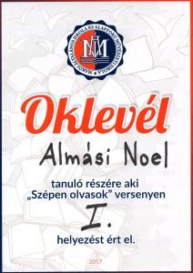 oklevél Almási Noel_w